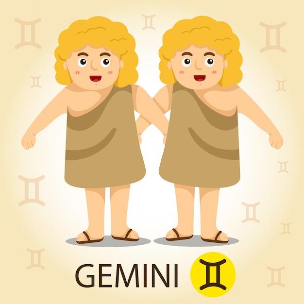 Ilustrador do zodíaco com gemini Vetor Premium