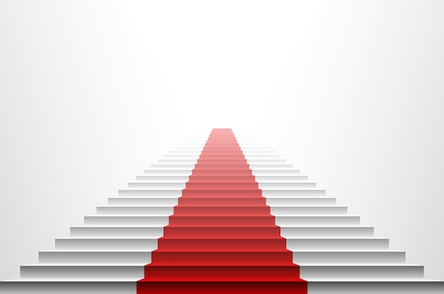 Imagem 3d do tapete vermelho na escada branca. escadas vermelhas Vetor Premium