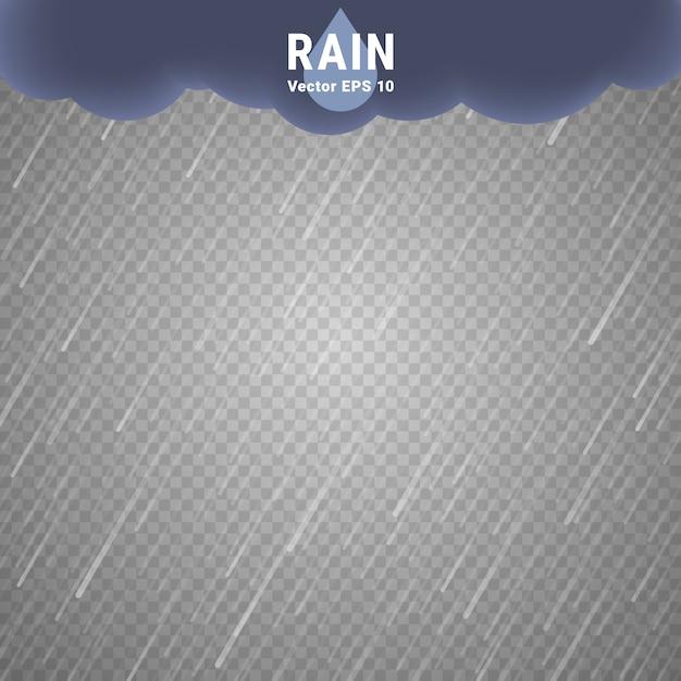 Imagem de chuva transparente. vector fundo chuvoso nublado Vetor Premium