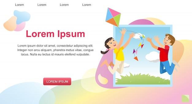 Imagem de conceito de vetor jogando crianças felizes Vetor Premium