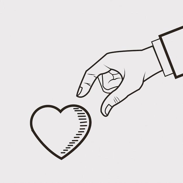 Imagem de desenho de linha de coração e mão Vetor Premium