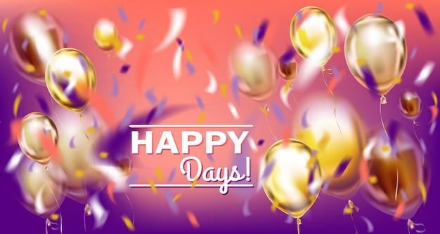 Imagem de disco festa violeta com balões matallic e confetes de folha Vetor Premium