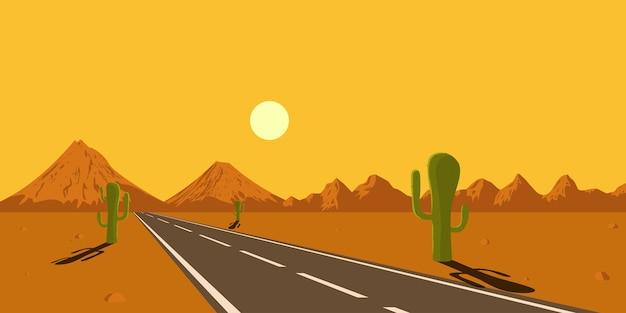 Imagem de estrada no deserto, cactos, montanhas e sol poente, ilustração de estilo Vetor Premium