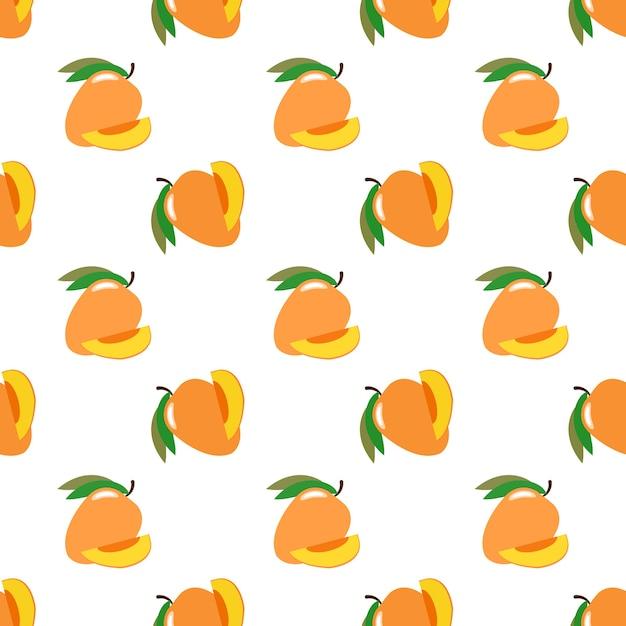 Imagem de fundo sem costura colorida fruta tropical manga Vetor Premium