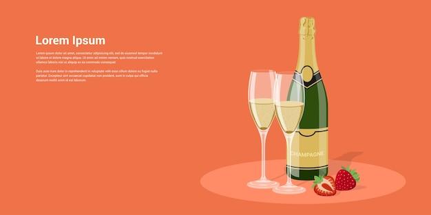 Imagem de garrafa de champanhe, taças e morango, ilustração de estilo Vetor Premium