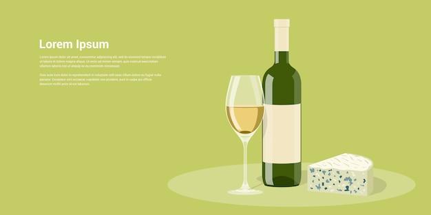 Imagem de garrafa de vinho, copo de vinho e queijo, ilustração de estilo Vetor Premium