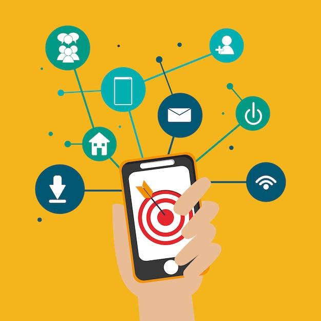 Imagem de ícones relacionados de comunicação de rede social digital Vetor Premium