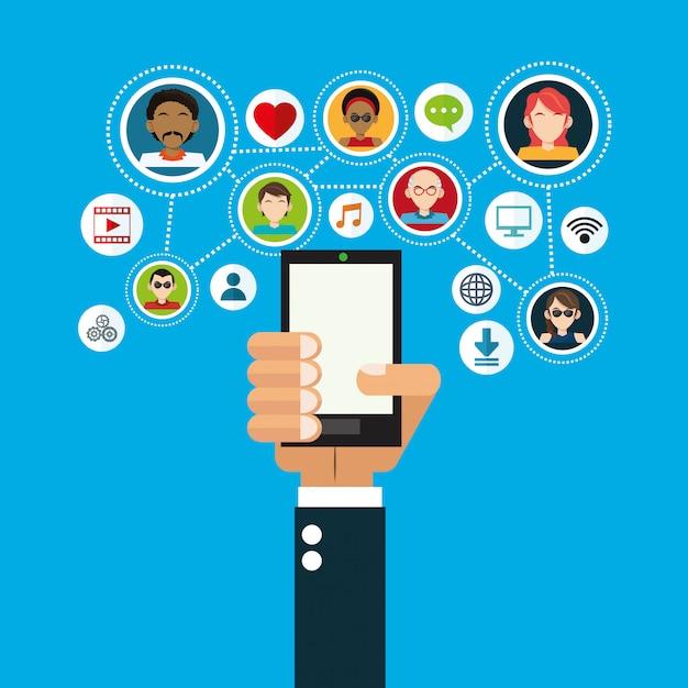 Imagem de ícones relacionados de mídia social Vetor Premium