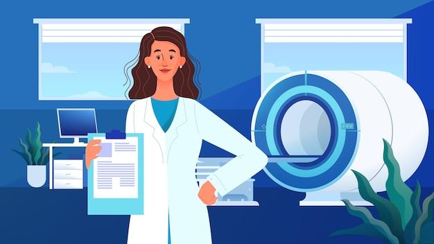 Imagem de ressonância magnética. pesquisa e diagnóstico médico. scanner tomográfico moderno. banner de anúncio de clínica de ressonância magnética ou cabeçalho de site, ideia de banner. Vetor Premium