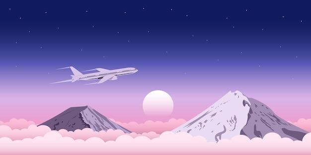 Imagem de um avião civil voando acima das nuvens com montanhas no fundo, banner da web para viagens, transporte, conceito de anúncio de bilhetes de avião Vetor Premium