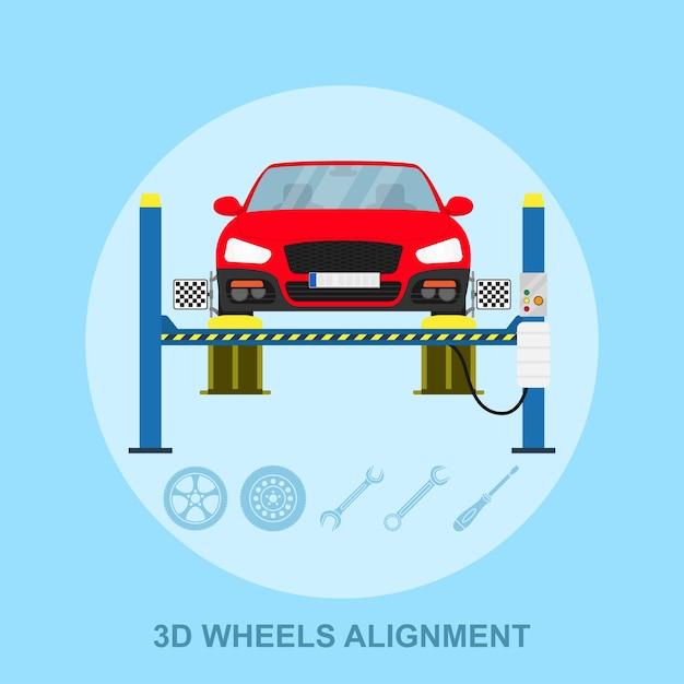 Imagem de um carro com dispositivo de alinhamento computadorizado na roda, estação de serviço de alinhamento, ilustração de estilo Vetor Premium