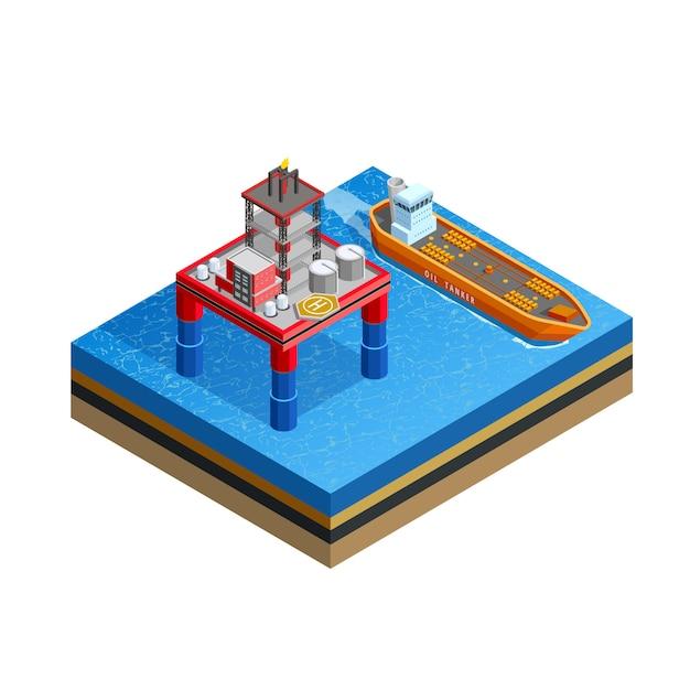 Imagem isométrica da plataforma offshore da indústria do óleo Vetor grátis