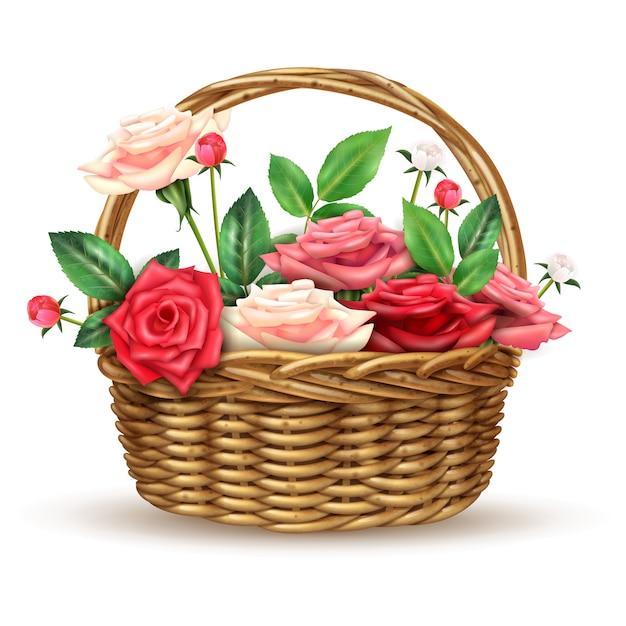 Imagem realista de flores de rosas cesta de vime Vetor grátis