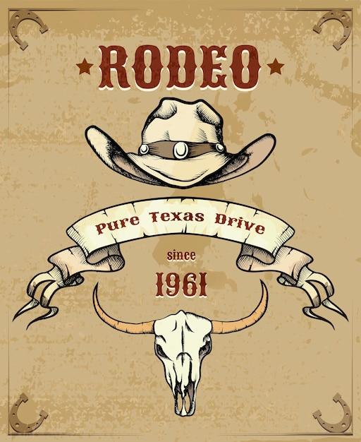 Imagem temática de rodeio com chapéu de caubói e crânio de gado Vetor grátis