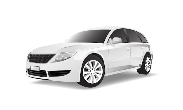 Imagem tridimensional do carro isolado no fundo branco Vetor Premium