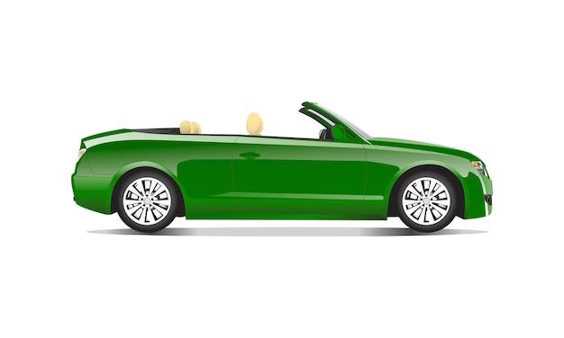Imagem tridimensional do carro verde isolado no fundo branco Vetor grátis