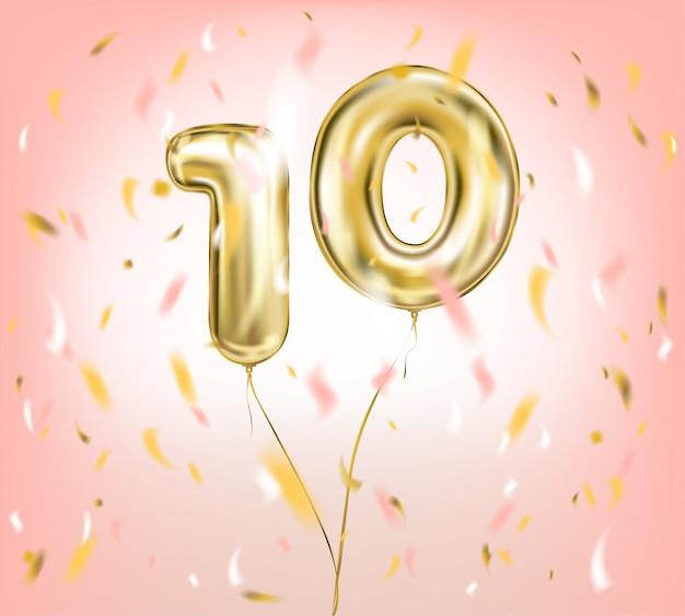 Imagem vetorial de alta qualidade de balão de ouro dez Vetor Premium