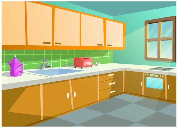 Imagem vetorial de cor brilhante da cozinha em casa. Vetor Premium
