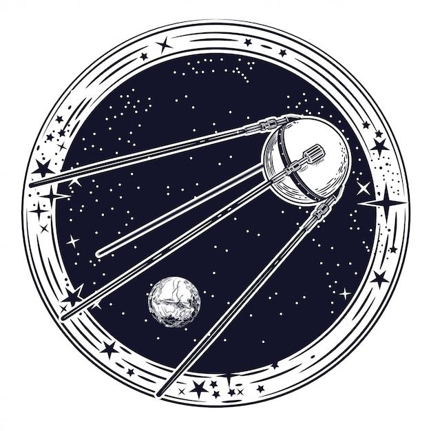 Imagem vetorial do satélite. Vetor Premium