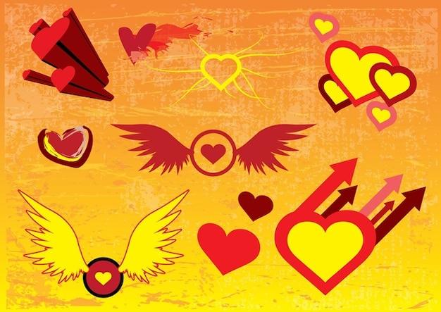 imagens coração livre vector Vetor grátis