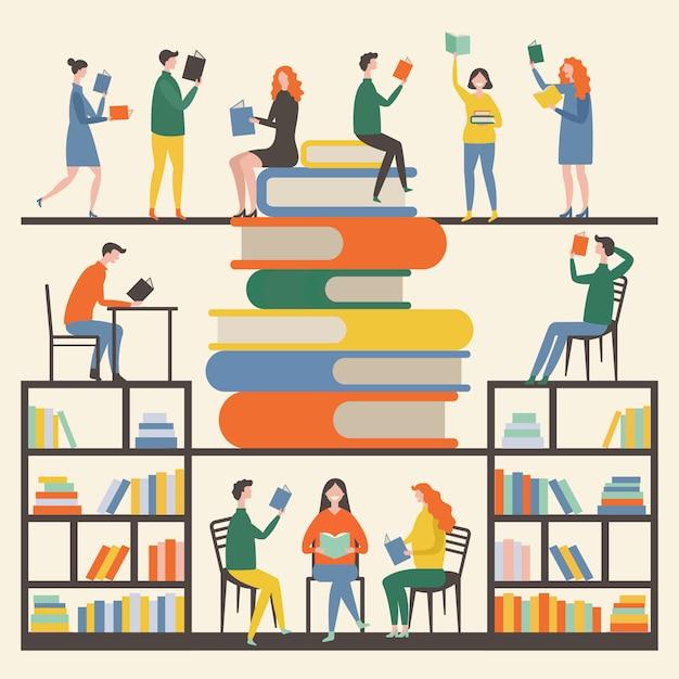 Imagens de conceito com mascotes masculinos e femininos que lendo livros na biblioteca Vetor Premium