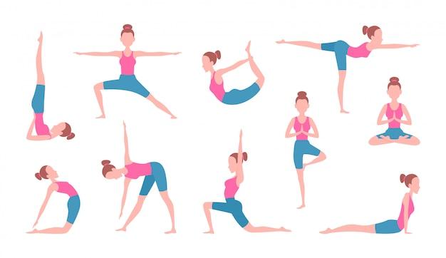 Imagens de conceito de saúde da fêmea fazendo ioga. exercícios de fitness Vetor Premium