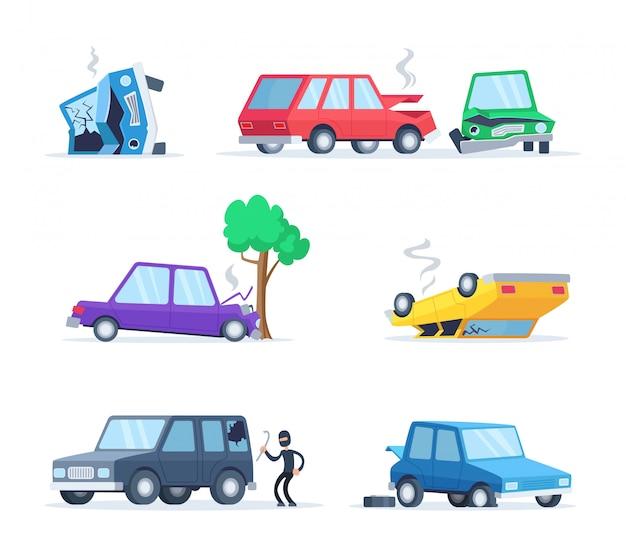 Imagens de vetor definido de diferentes acidentes na estrada. grandes danos de carros Vetor Premium