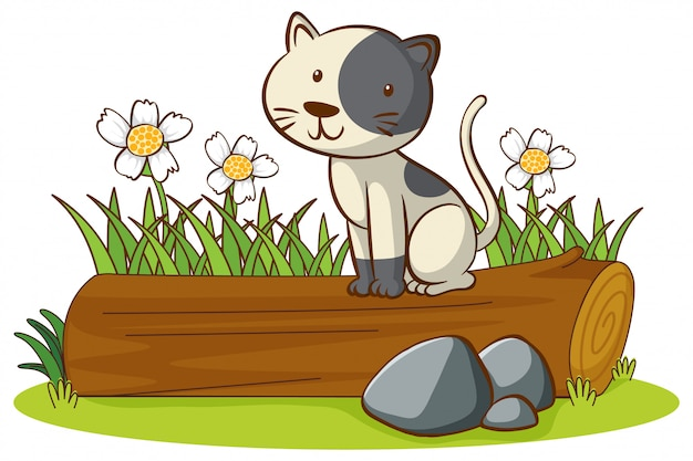 Imagens isoladas de gato bonito no log Vetor grátis