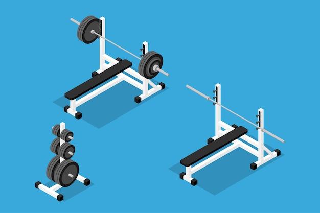 Imagens isométricas de barra, pesos, carrinho de pesos, barra e banco. conjunto de equipamentos de ginástica, treinamento de força e musculação. estilo isométrico 3d plano. Vetor Premium