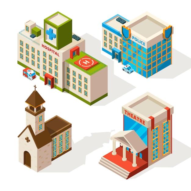Imagens isométricas de edifícios municipais Vetor Premium