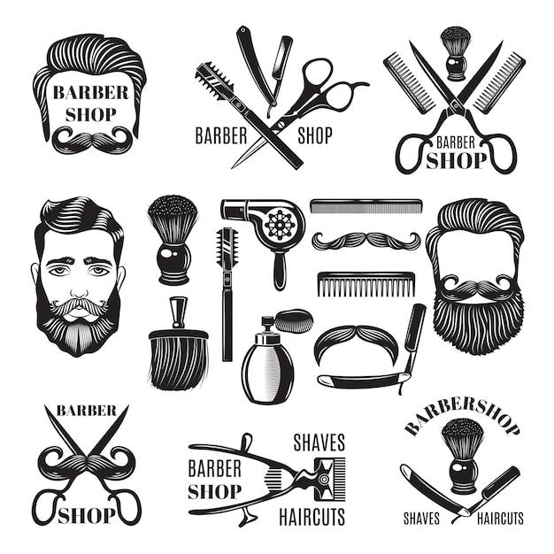 Imagens monocromáticas de ferramentas de barbearia. Vetor Premium