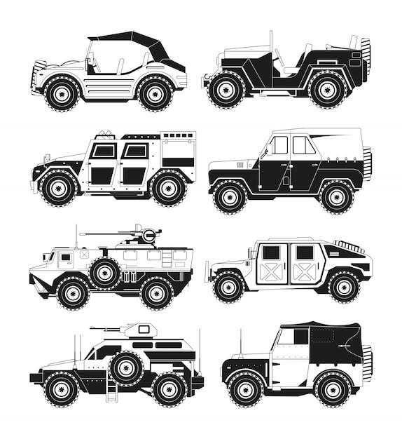 Imagens monocromáticas de veículos militares. ilustrações do exército Vetor Premium