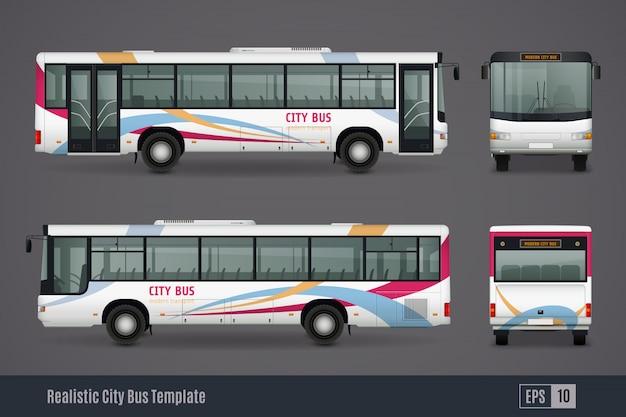Imagens realistas coloridas de ônibus da cidade Vetor Premium