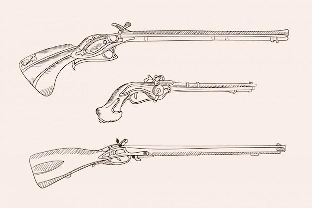 Imagens Vetoriais De Velhas Armas De Fogo Europeias Desenho De