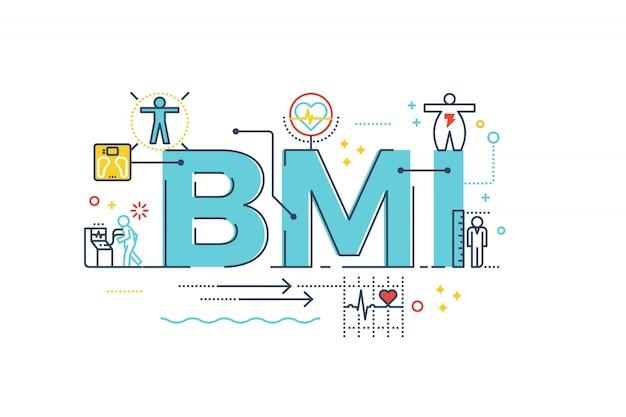 Imc: palavra de índice de massa corpo rotulação tipografia design ilustração Vetor Premium