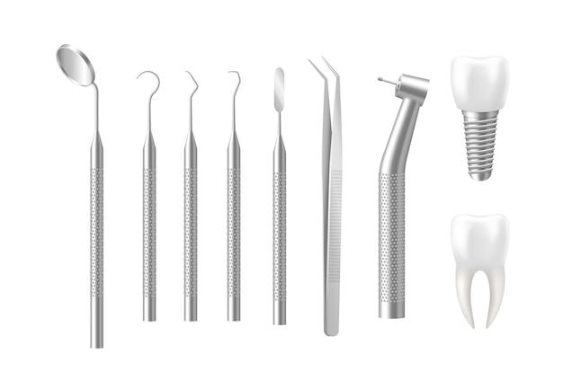 Implante e conjunto de ferramentas odontológicas isolado no branco Vetor Premium
