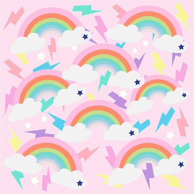 Impressão arco-íris rosa fundo Vetor Premium