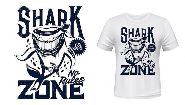 Impressão de camiseta com mascote de animal de tubarão Vetor Premium