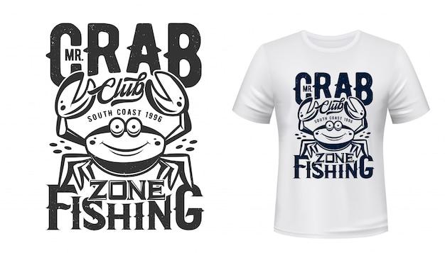 Impressão de camiseta de caranguejo do clube de esporte de pesca Vetor Premium