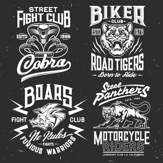 Impressão de camiseta de tigre, cobra, pantera e javali do modelo de roupa personalizada do esporte de luta e do clube de motociclista. animal selvagem agressivo e emblemas grunge de cobra atacante com letras Vetor Premium