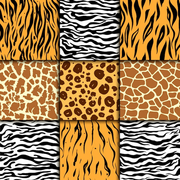 Impressão de padrão sem emenda com pele de chita, zebra e tigre, leopardo e girafa animal exótico. Vetor Premium