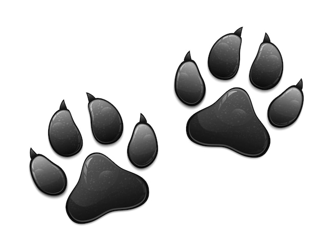 Impressão de pata de animal preto isolado no fundo branco. Vetor Premium