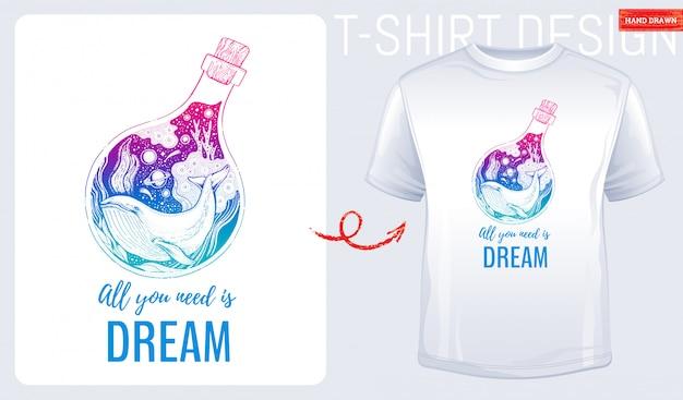 Impressão de t-shirt com baleia do mar Vetor Premium