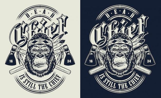 Impressão de t-shirt com o conceito de gorila Vetor grátis