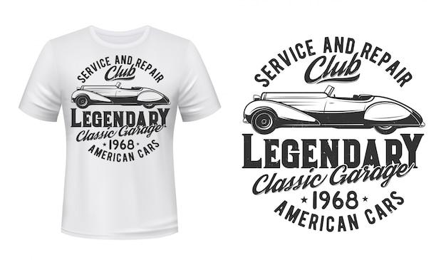 Impressão de t-shirt de serviço de reparação de automóveis retrô, Vetor Premium