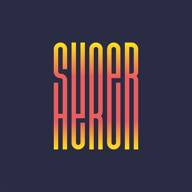 Impressão de tipografia completa de super herói poder Vetor Premium