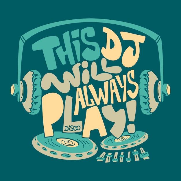 Impressão gráfica de t-shirt do fone de ouvido do dj. Vetor Premium