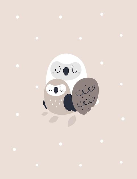 Impressão infantil com uma adorável família de pássaros coruja. ilustração de chuveiro de bebê Vetor Premium