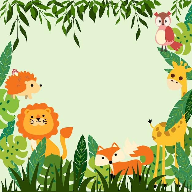 Impressão moldura de selva do bebê Vetor Premium