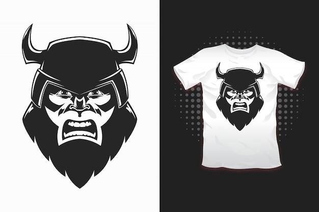 Impressão viking para design de t-shirt Vetor Premium